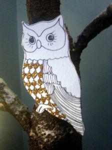 A recycled birthday owl