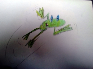 pencil colour frog
