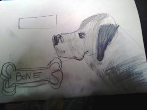 pencil dog with bone